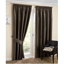 Tuscany coffee jacquard lined pencil pleat curtains