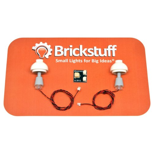 "Brickstuff Grey Table Lamps (2-Pack) with 12"" Cables and Connecting Adapter- QK9-GR"