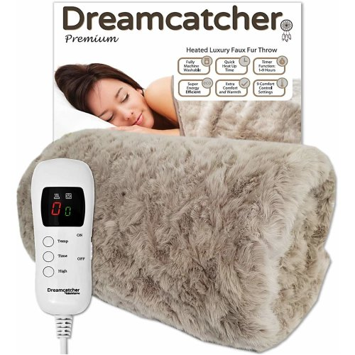 Dreamcatcher Deluxe Luxurious Faux Fur Electric Heated Throw 160 x 130cm - Grey
