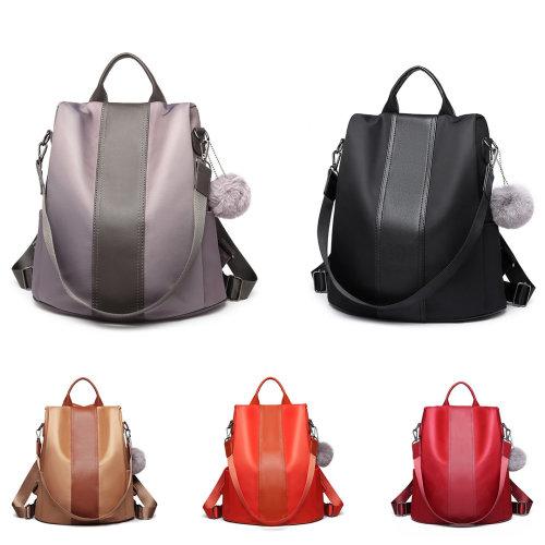 Miss Lulu Women Anti-theft Backpacks Girls Fur Ball School Bags Waterproof Daypack Rucksack Shoulder Bags