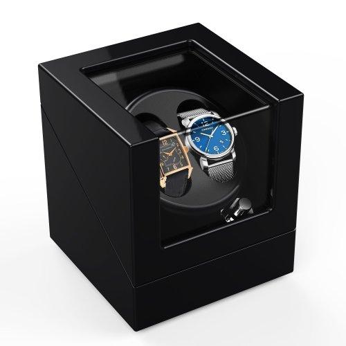 Double Automatic Watch Winder Box 4 Modes, Wood Shell, Piano Paint Black Gloss