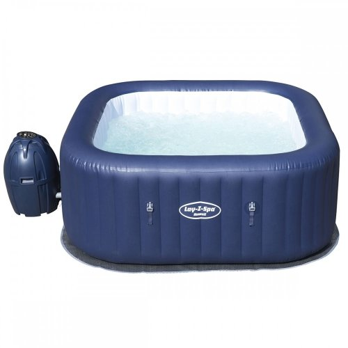 Bestway Lay-Z-Spa Hawaii AirJet Inflatable Rectangular Hot Tub Rapid Heating System Inflates Using Spa's Pump With Digital Control Panel
