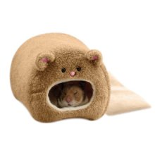 Winter Warm Plush Hanging Cage for Hamster Hammock Cute Bear House with Bed Mat