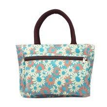 Ladies Fashionable Printed Tote Bag Zipper Purse Handbag Daisy Flowers Blue