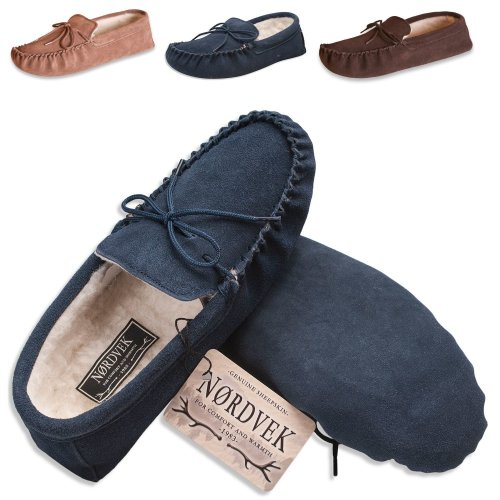 Nordvek Sheepskin Moccasin Women - Wool Lined Suede Slippers - Soft Suede Sole # 431-100
