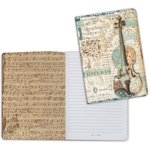 Stamperia Lined Notebook A5-Violin, Music