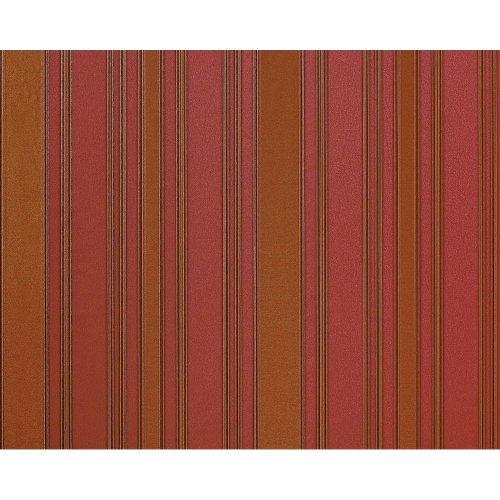 EDEM 980-35 Luxury stripe non-woven wallpaper strawberry red goldbrown 10.65 sqm