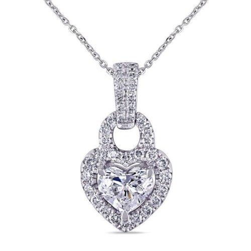 White Gold 14K Heart And Round Brilliant Cut 5.50 Carats Diamonds Pendant Necklace