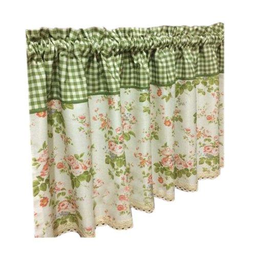 Lovely Cafe Curtain Window Valance/Plaid Curtain, Green(170*60 cm)