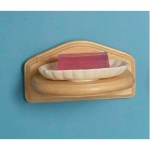Ceramic Soap Dish  with Wooden Holder