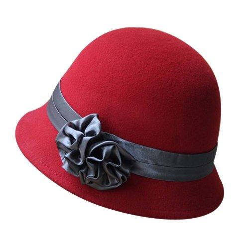 61d319d41cb68 Solid Color Roll Brim Bowler Hat Woolen Billycock Hard Felt Hat Cloche