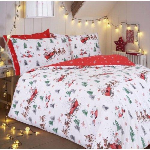Santa Sleigh Christmas Reversible Duvet Quilt Cover Bedding Set All Sizes
