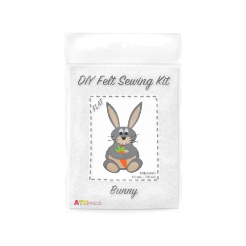 ATH Press - DIY Felt Sewing Kit - Bunny - Grey - Flat