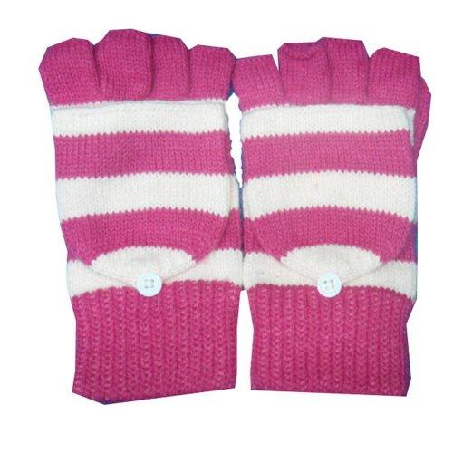 Women's Knit Winter Glove Half-finger gloves Pink convertible gloves
