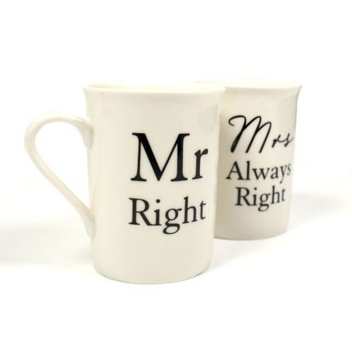 Boxed Set Of 2 Gift Mugs - Mr Right And Mrs Always Right By Amore -  right set mr mrs always gift 2 amore piece mug porcelain coffee tea cups his