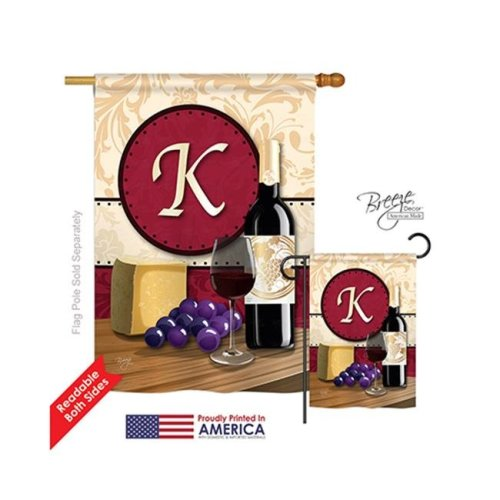 Breeze Decor 30219 Wine K Monogram 2-Sided Vertical Impression House Flag - 28 x 40 in.