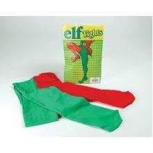 Green & Red Adults Elf Tights - Dress Fancy Christmas Jester Adult Costume -  elf tights dress fancy green red christmas jester adult costume
