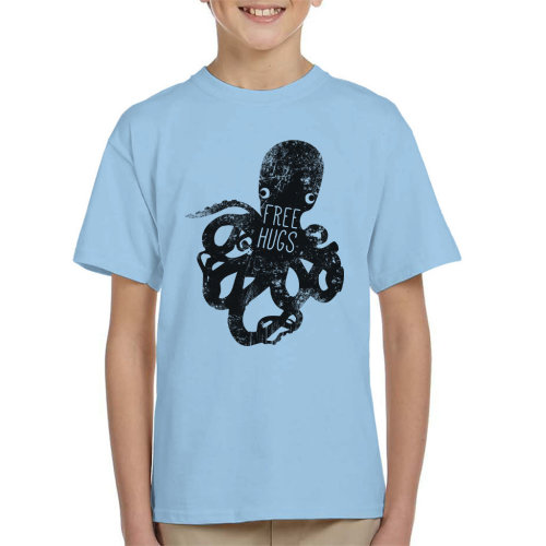 Dark Octopus Free Hugs Kid's T-Shirt