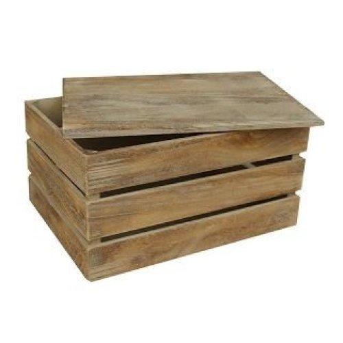 Large Oak Effect Slatted Lidded Wooden Storage Box