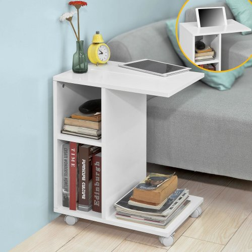 SoBuy® FBT48-W, Side Table End Table Coffee Table on Wheels, White