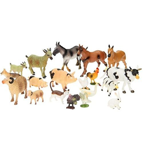 20 Piece Plastic Farm Animals For Kids Toddlers Farmyard Toys