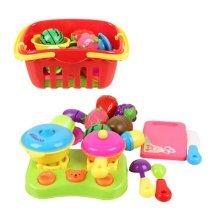 Set of Seventeen Lovely Kitchen Toys Children Cut Fruit Toys