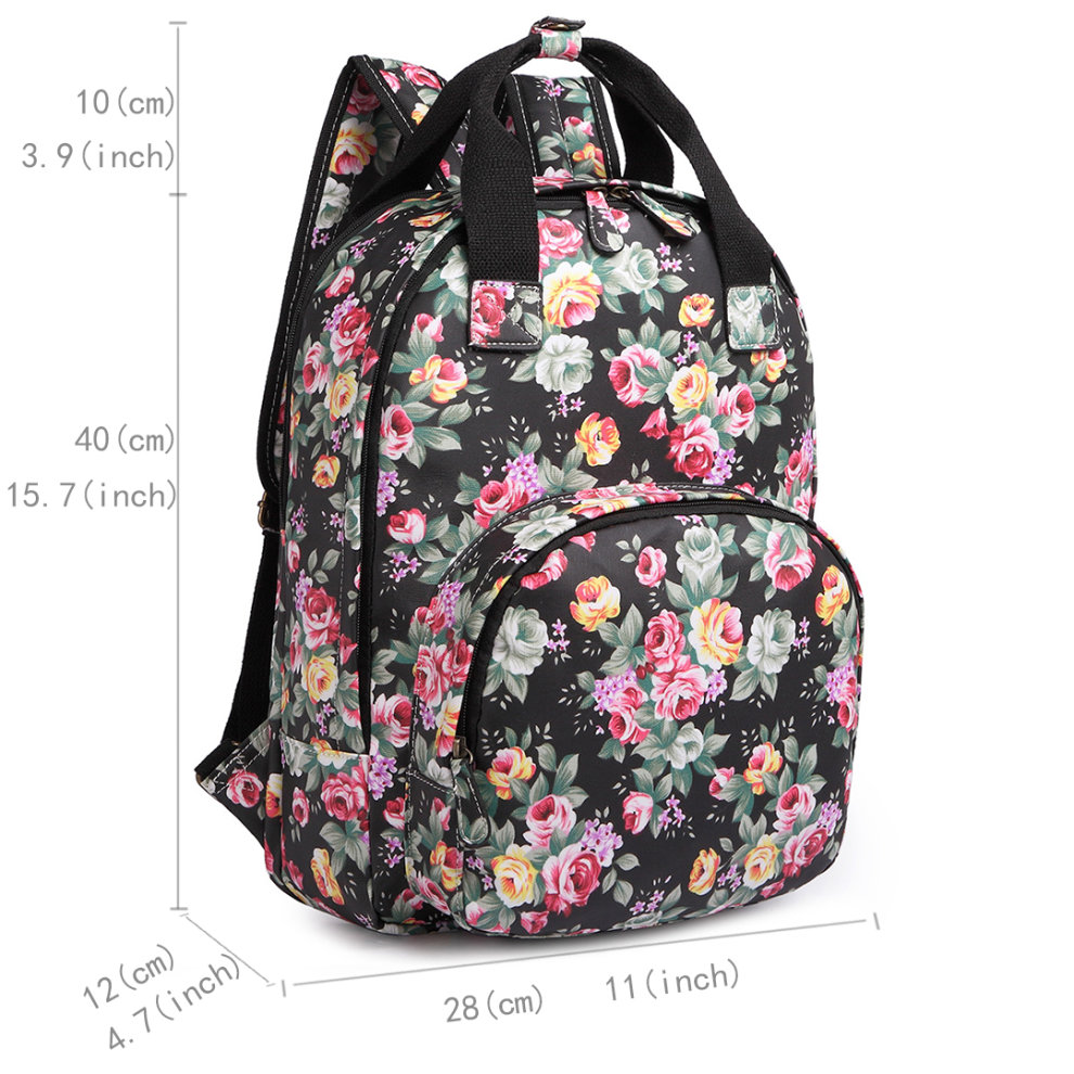 Miss Lulu Women Backpack S School Bag Flower Matte Oilcloth