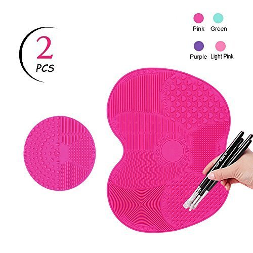 Tailaimei Makeup Brush Cleaning Mat Set Of 2 Silicone Cosmetic Washing Tool With Suction Cups Pink