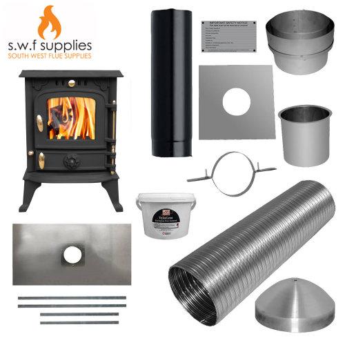 JA013S 5.5kw Cast Woodburner Multi Fuel Stove & Complete 7m Liner Install Kit