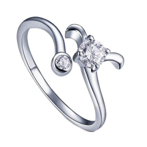 Silver Plated Star Sign Aries Ring Size P 1/2 (UK) Adjustable Open Zodiac Rhinestone Thumb Ladies Wrap