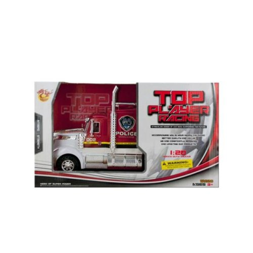 Kole Imports KL254-8 13.5 x 5.12 in. Friction Powered Police Semi-Trailer Truck, Pack of 8