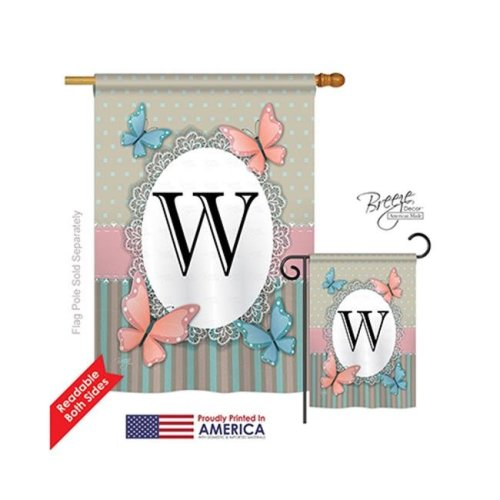 Breeze Decor 30153 Butterflies W Monogram 2-Sided Vertical Impression House Flag - 28 x 40 in.
