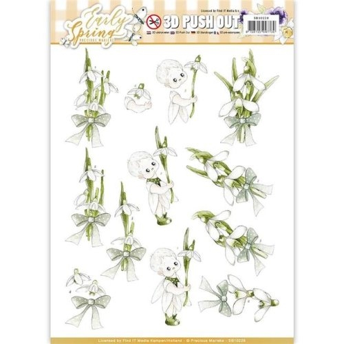 Find It Trading SB10228 Precious Marieke Early Spring Punchout Sheet - Early Snowdrops