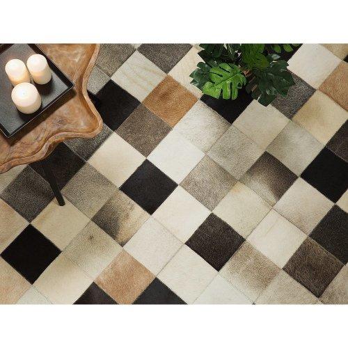 Carpet brown - beige - grey - rug - leather - SOKE
