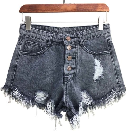 Trendy Shorts Women's Summer High Waist Jeans Shorts Denim Shorts, F