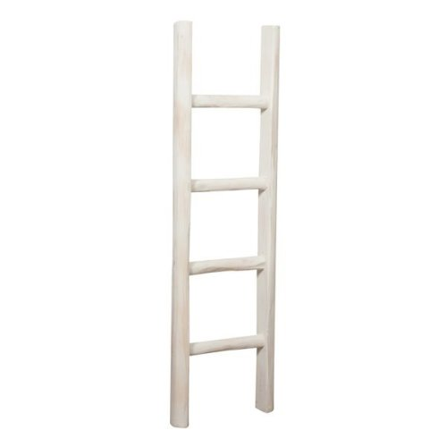 W30xdp5,5,xh100 Cm Sized Made In Italy Wood Made Antiqued White Finish Ladder