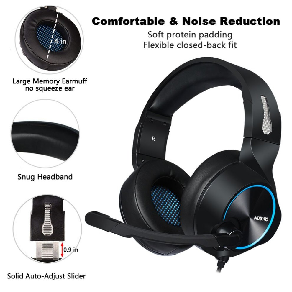 ddf15cd3ff2 ... NUBWO Gaming Headset, PS4 Xbox One Headset, Stereo PC Headset Noise  Cancelling Gaming Headphone ...