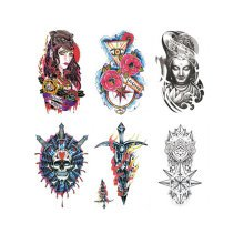 Fashion Arm Tattoo Creative Design Temporary Tattoos Stickers 6 pcs,C