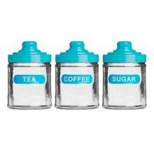 Set of 3 Glass Tea, Coffee and Sugar Jars - Blue