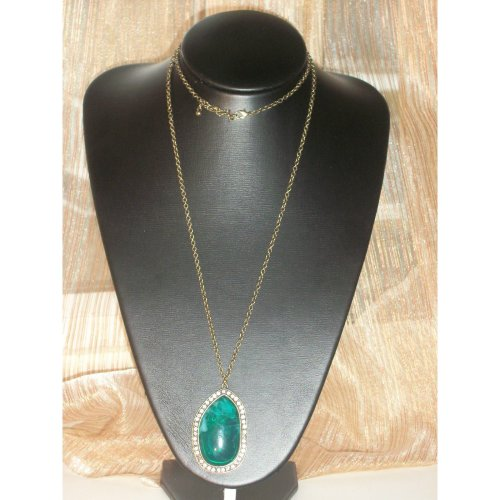 Oval Teal Long Necklace