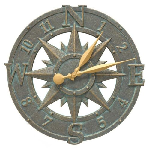 Whitehall Products 01297 16 in. Compass Rose Clock - Bronze Verdigris
