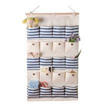 20-Pockets Zakka Wall Door Hanging Storage Bag Case Home Organizer Box