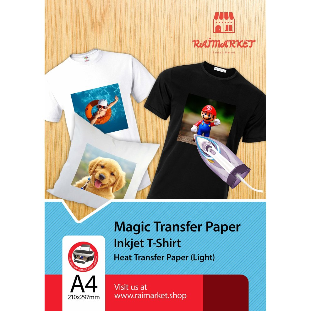 Iron on Transfer Paper for Light Fabric (Magic Paper) by Raimarket | 20  Sheets | A4 Inkjet Iron On Paper/T Shirt Transfers | DIY Fabric Printing,