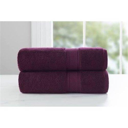 Baltic Linen 0357330610 Luxury Rayon from Bamboo & Cotton  2 Piece Bath Towel set - Purple Oxford