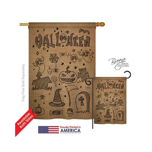 Breeze Decor 12061 Halloween Halloween Doodles 2-Sided Vertical Impression House Flag - 28 x 40 in.