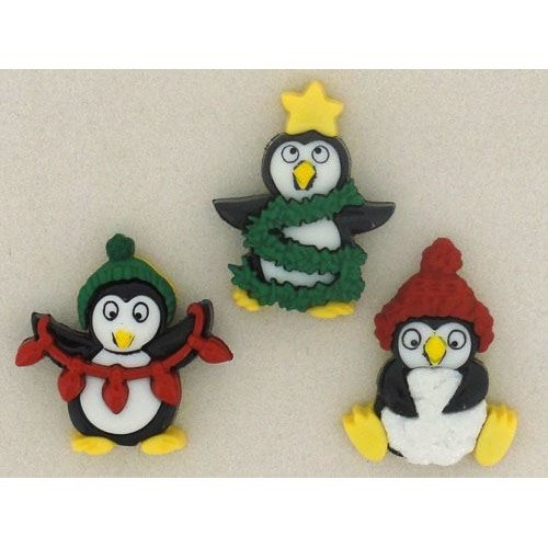 Christmas Penguins - Novelty Craft Buttons & Embellishments by Dress It Up