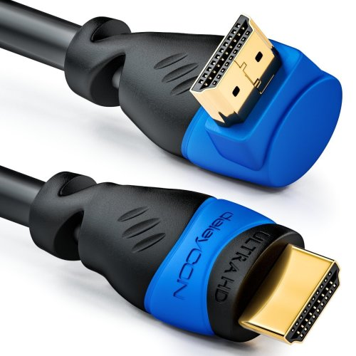 deleyCON (4.93 ft.) 1.5m HDMI 270° angle cable - compatible with HDMI 2.0 / 1.4 - UHD 4K HDR 3D 1080p 2160p ARC - High speed with Ethernet - black