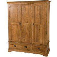 French Chateau Rustic Solid Oak Triple Wardrobe