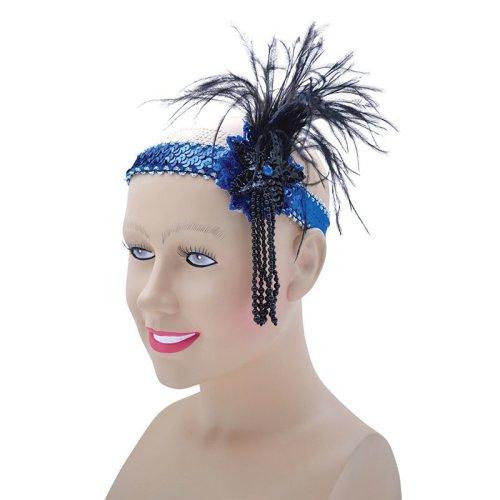 Blue Deluxe Sequin Flapper Headband -  flapper dress fancy sequin blue band deluxe headband adult accessories costume headbands