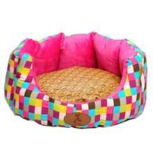 Skin Soft and Warm Pet House Dog Cat Pet Bed Puppy sofa, Rose Grid 45*40*18 CM